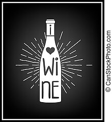 I love wine - Typographical Background.