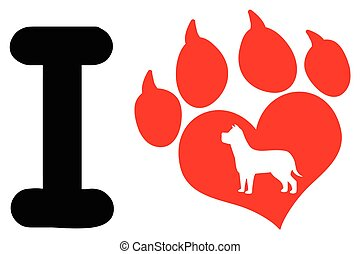 I Love With Red Heart Paw Print With Claws And Dog Silhouette Logo Design