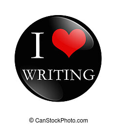 I Love Writing button, A black and red button with words I...