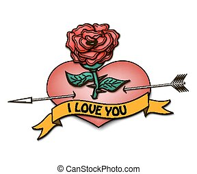 I love you and heart with a rose