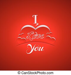 """I Love You"" background with hearts. Vector illustration."