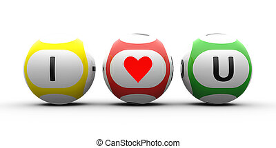 I love You. Balls with red bright heart