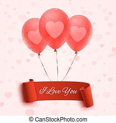 I love you banner with three balloons. Valentines Day...