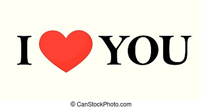 I love you black text with red heart lettering