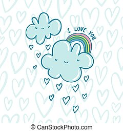 I love you blue valentine clouds with hearts and rainbow on...