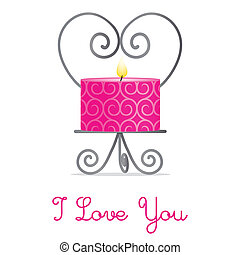"""I Love You"" candle and holder card"