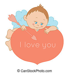 I love you, card Valentine's Day with a cute cupid