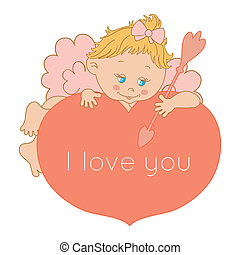 I love you, card Valentine's Day with Cupid