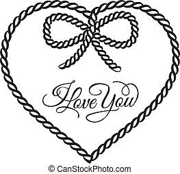 I love you - card. Vector illustration.
