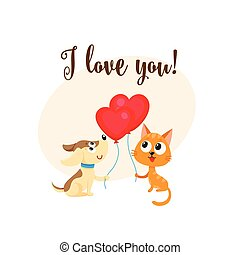 I love you card with dog, cat, heart shaped balloon