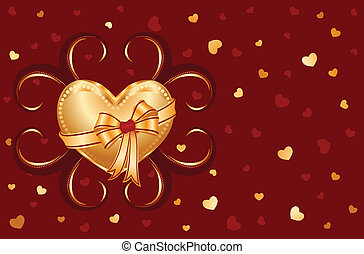 I love you card with golden heart