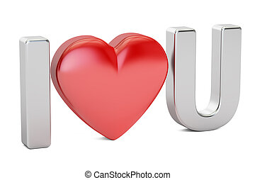 I love you concept, 3D rendering