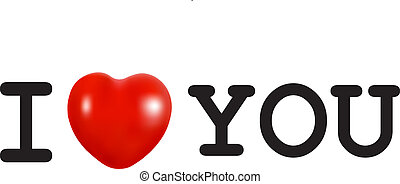 I Love You concept with a red heart
