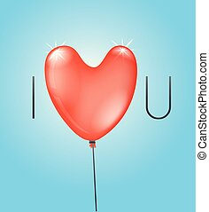 I love you concept with red balloon. Vector illustration