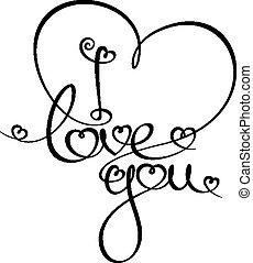 """Custom Handwriting Calligraphic typography of """"I love you"""". The line art follows on double-weight font design rules."""