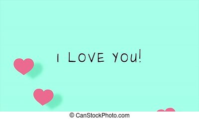 I love you cute cartoon animation with hearts for Valentine Day