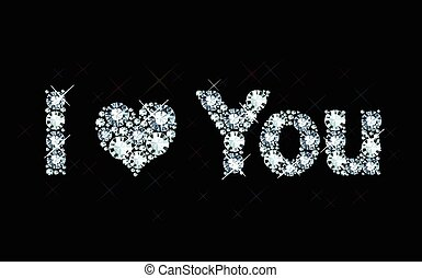 I Love You - diamond letters