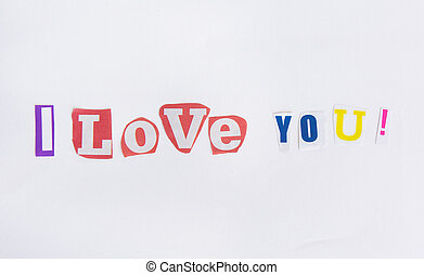 I love you from the letters cut out of newspapers