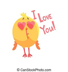 I love you, funny cartoon comic chicken with heart shape eyes vector Illustration