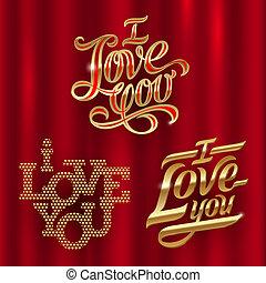 I Love You - golden decorative vector lettering