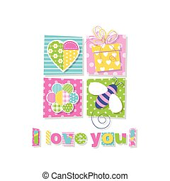 I love you greeting card - illustration of heart, present,...