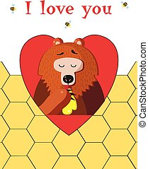 I love you greeting card of cute bear eating honey on honeycomb background.