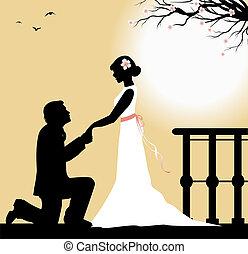 I love you - groom kneeling in front of the bride