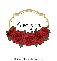 I love you Hand drawn calligraphy and brush pen lettering with gold frame border and red roses