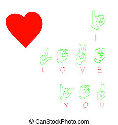 'I Love You' Hand language and heart