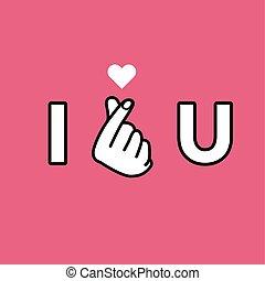 I love you. Hand making mini heart sign.