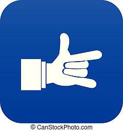 I Love You hand sign icon digital blue