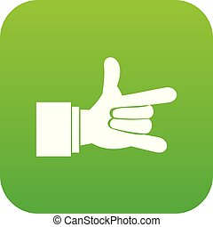 I Love You hand sign icon digital green
