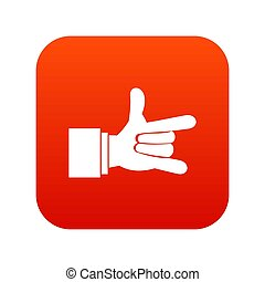 I Love You hand sign icon digital red