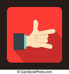 I Love You hand sign icon, flat style