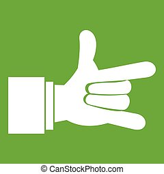 I Love You hand sign icon green