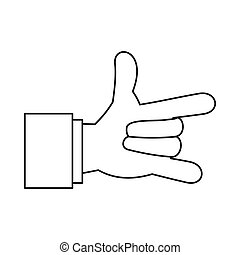 I Love You hand sign icon, outline style