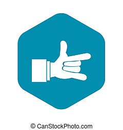 I Love You hand sign icon, simple style