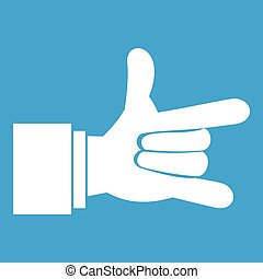 I Love You hand sign icon white