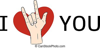 I love You  hand sign with red heart