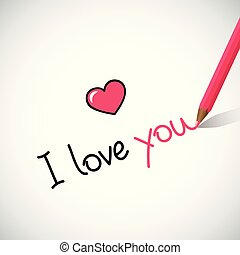 i love you hand written lettering