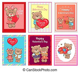 I love You Happy Valentines Day Set of Poster Bear