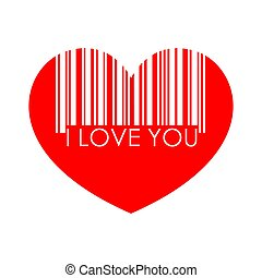 I love you heart barcode, vector. Price of love. Isolated over white background