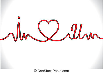 I Love You Concept Illustration with electro cardio gram shaped red line with I and U next to heart