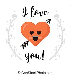 I love you. Heart emoticon isolated with decoration. Modern design for greeting card, poster or banner.