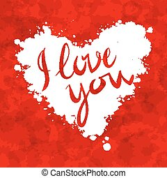 I love you heart red background painted with watercolors...