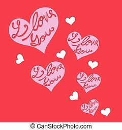 I love you hearts on red background