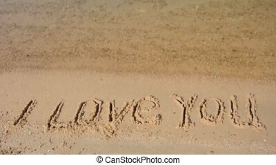 I love you -  i love you  in the sand