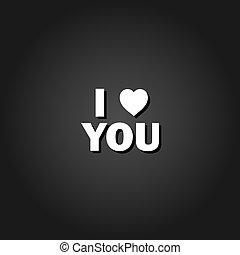 I love you icon flat