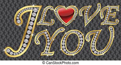 I love you icon, golden with diamon