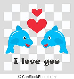 I love you - illustration of two cute dolphins